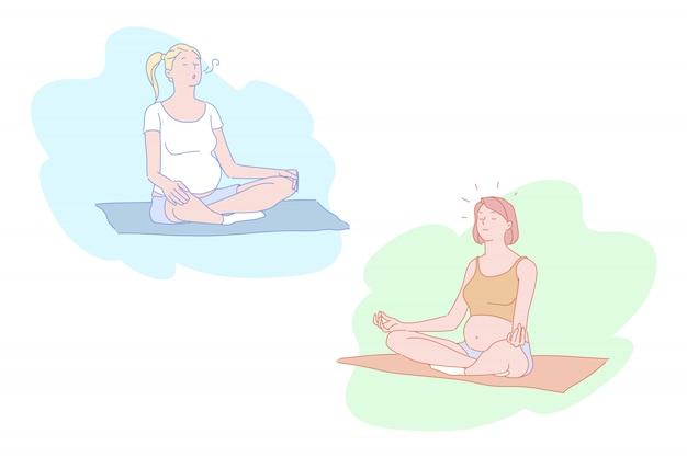 Schwangere frauen im yoga wirft illustration auf