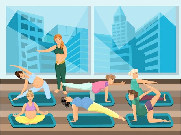 Schwangere frauen machen yoga mit dem lehrer