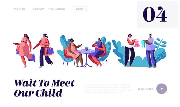 Schwangere frauen verbringen zeit miteinander einkaufen gehen, cafe besuchen, website landing page vorlage