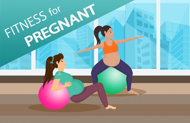 Schwangere freunde trainieren zusammen web banner