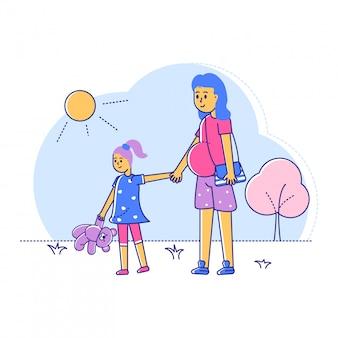 Schwangere gehen zu fuß mit tochter, linie weiblich mit spätschwangerschaftszeitspaziergang im freienpark auf weiß, illustration.
