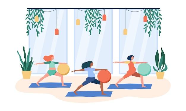 Schwangere machen übungen mit großem ball. karikaturillustration
