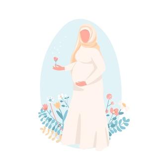 Schwangere muslimische frau im flachen stil