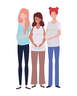 Schwangere stellung der schönen frauen auf weiß