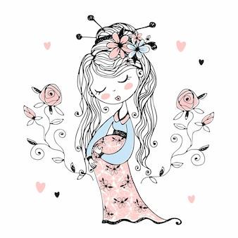 Schwangere süße frau mit blumen im haar. vektor.