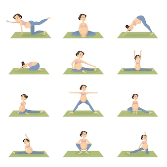 Schwangere übungen eingestellt. training mit sportgeräten.