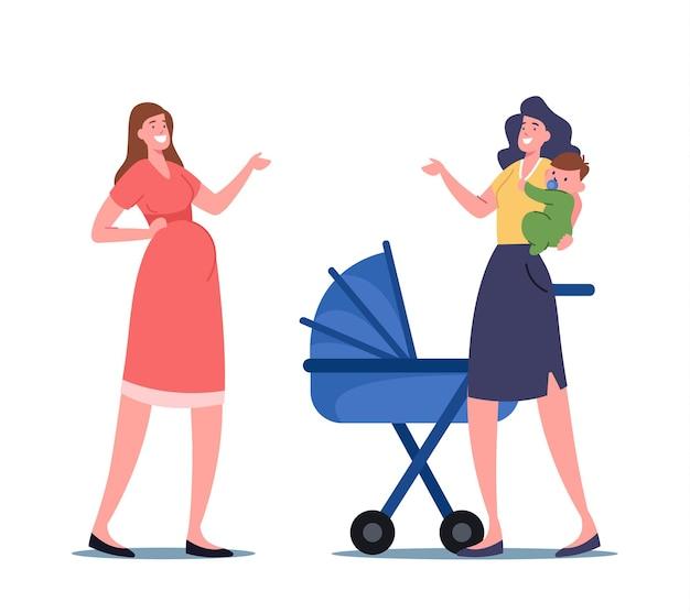 Schwangere weibliche figur und mutter mit kleinem kind auf händen im chat über mutterschaftsurlaub und mutterschaftsfragen auf der straße. junge frauen-baby-lieferung. cartoon-menschen-vektor-illustration