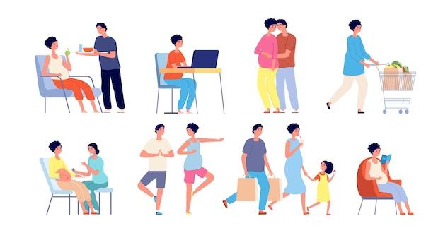 Schwangeres paar. entspannendes yoga, schwangerschaftsgymnastik-posen. wartender babyalltag, glücklicher ehemann, der frauvektorsatz umarmt. schwangere frau, paar erwartet babyillustration