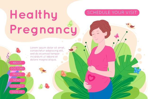 Schwangerschaft, mutterschaftskonzeptbanner. schwangere und glückliche schöne junge frau hält ihren bauch, der ein herz als symbol für ein baby im mutterleib darstellt. flache cartoon-vektor-illustration.