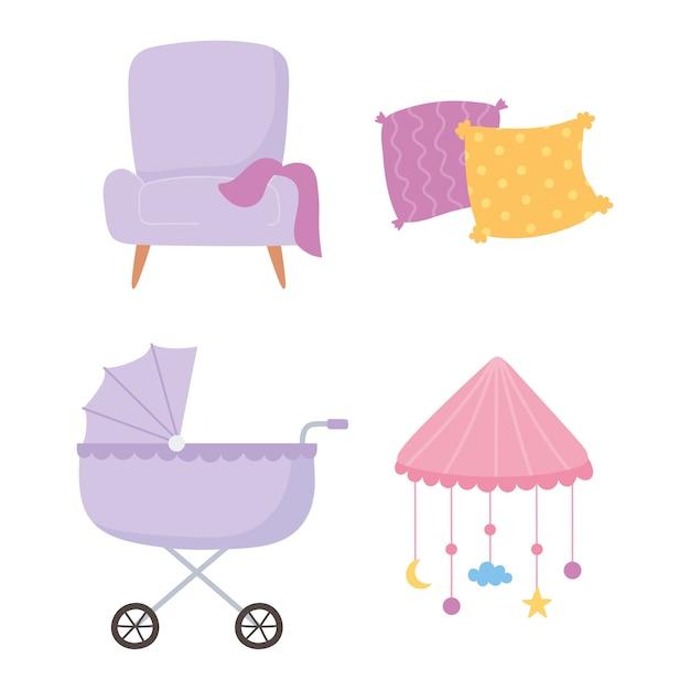 Schwangerschaft und mutterschaft, kinderwagenstuhlkissen und mobile krippensymbole