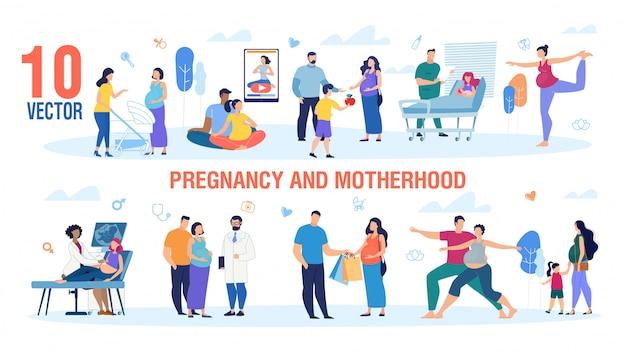 Schwangerschaft und mutterschaft zeichen vektor festgelegt