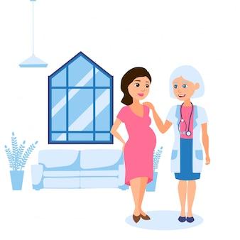Schwangerschaftsabschluss, beratung mit persönlicher geburtshelferin gynäkologe illustration. frau mit großem bauch, die mit arzt spricht