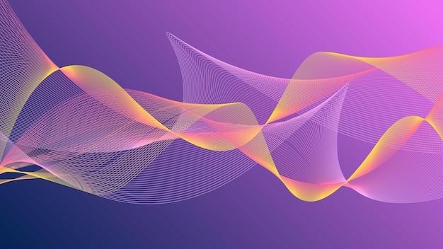 Schwankende wellenlinien abstrakter wellenhintergrund rosa und blau mit gelben streifen