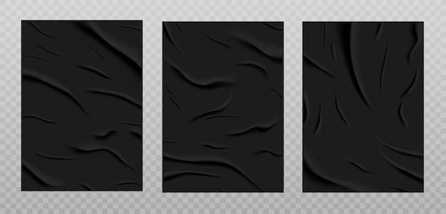 Schwarz geklebte papierstruktur, nass zerknitterte papierbögen eingestellt. plakate mit zerknitterten und zerknitterten falten lokalisiert auf einem transparenten hintergrund. illustration. a4-format.