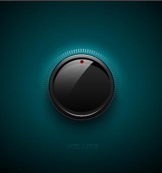 Schwarz glänzende schnittstellentaste zur lautstärkeregelung mit reflexion und schatten. vektor-illustration. soundsymbol, musikknopf mit skala auf türkisfarbenem kunststoffhintergrund.