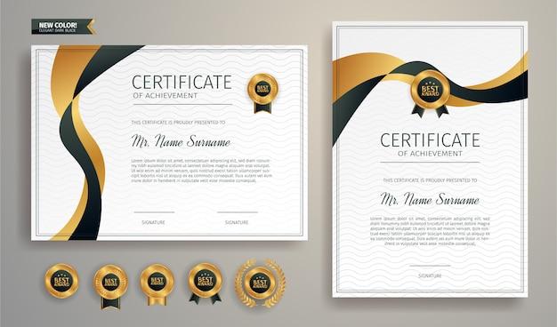 Schwarz-gold-anerkennungszertifikat-grenzschablone mit luxusabzeichen und modernem linienmuster