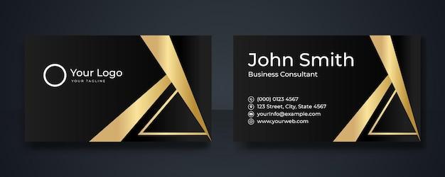 Schwarz-gold-premium-luxus-visitenkarten-design. professionelle vorlagen-visitenkarte. elegante abstrakte kartenvorlagen, perfekt für ihr unternehmen. vektor-design-vorlagen-set