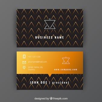 Schwarz-gold-visitenkarte mit geometrischen formen