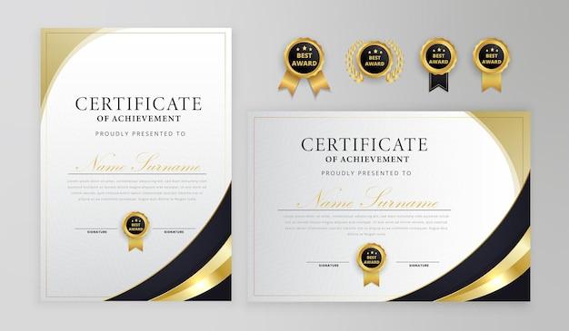 Schwarz-gold-zertifikat mit abzeichen und moderner linienmusterschablone