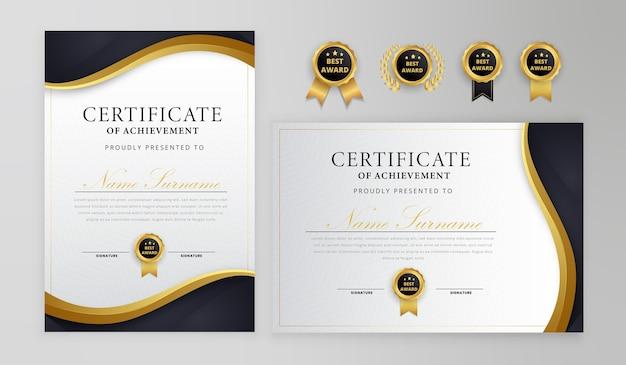 Schwarz-gold-zertifikat mit abzeichen und randschablone