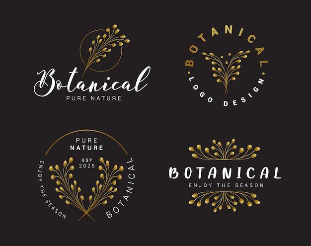 Schwarz-goldene florale botanische logo-kollektion
