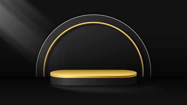 Schwarz-goldener podiumshintergrund