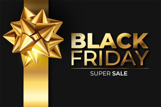 Schwarz-goldenes realistisches black friday-banner