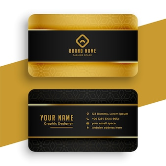 Schwarz-goldenes visitenkarten-vorlagendesign