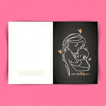Schwarz-grußkarte von mutter ihr baby küssen