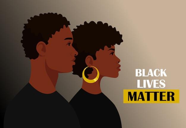 Schwarz lebt materie, isoliert. junge afroamerikaner: mann und frau gegen rassismus. schwarze bürger kämpfen für gleichheit.