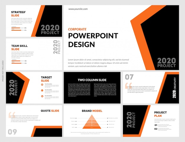Schwarz-orange powerpoint-vorlage