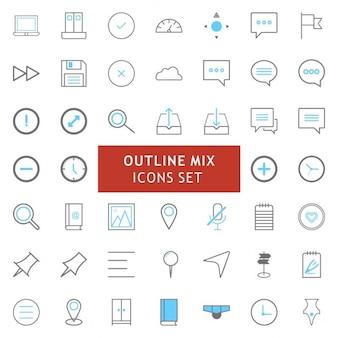 Schwarz und blau kontur mix-icons set