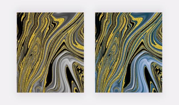 Schwarz und blau mit dem abstrakten entwurf der flüssigen tintenmalerei des goldenen glitzers