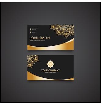Schwarz und gold bussiness card template