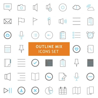 Schwarz und grau kontur mix icons set