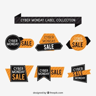 Schwarz und orange cyber montag abzeichen