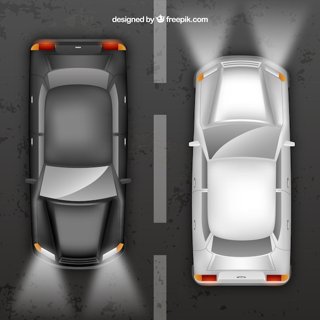 Schwarz und silber autos aufsicht