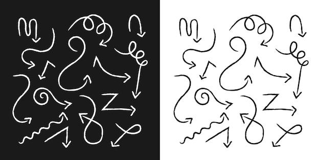 Schwarz und weiß handgezeichnete gekritzelpfeile mit gepunkteten verbindungslinien setzen premium