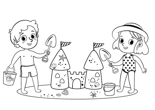 Schwarz und weiß zwei kleine kinder, die spaß am strand haben outdoor-aktivität isoliert auf weiß