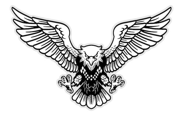 Schwarz-weiß-adler-maskottchen breitete den flügelvektor aus
