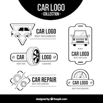 Schwarz-weiß-auto-logo-pack