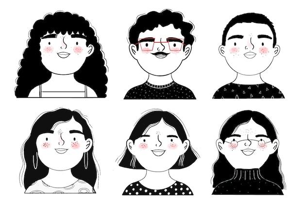 Schwarz-weiß-avatare von menschen