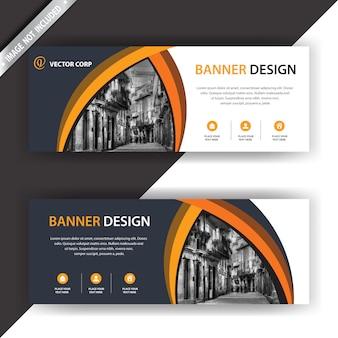 Schwarz-weiß-banner mit orangefarbenen details