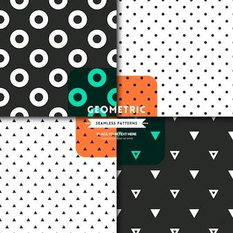 Schwarz-weiß-dreieck und kreis dot nahtlose muster hintergrund