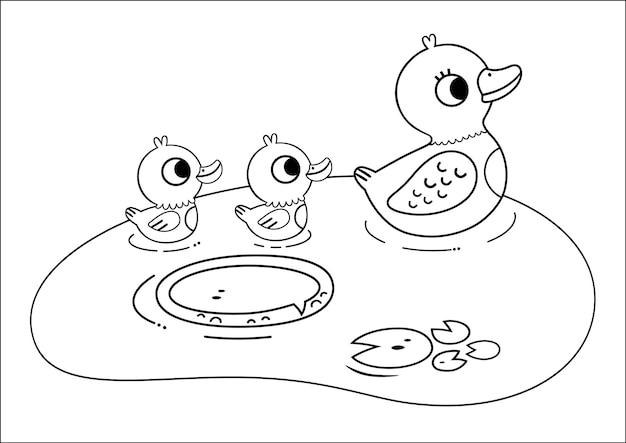 Schwarz-weiß-entenfamilie illustration für malbuch vektor-illustration