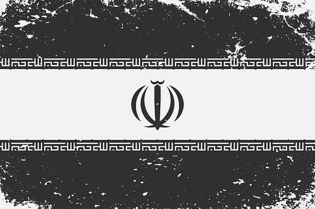 Schwarz-weiß-flagge iran im grunge-stil
