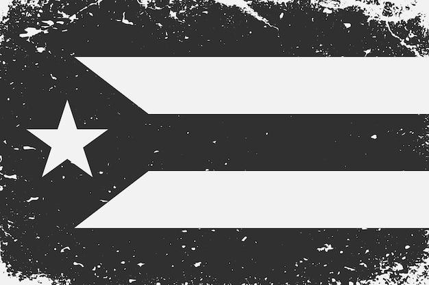 Schwarz-weiß-flagge kuba im grunge-stil