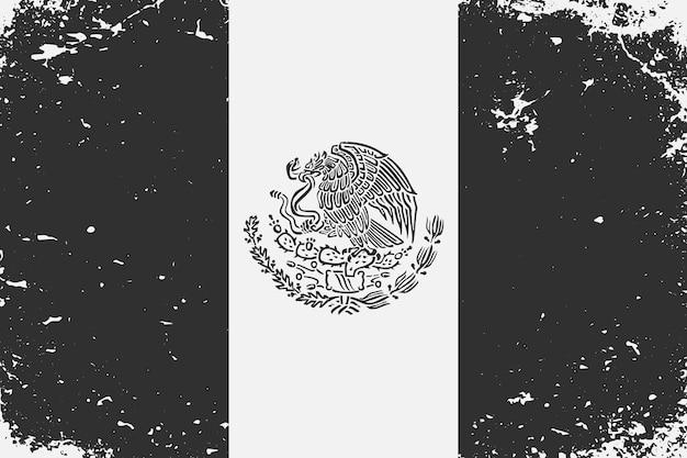 Schwarz-weiß-flagge mexiko im grunge-stil