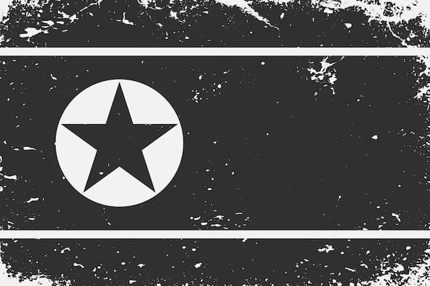Schwarz-weiß-flagge nordkorea im grunge-stil