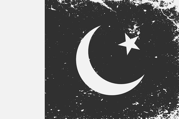 Schwarz-weiß-flagge pakistan im grunge-stil